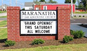 Church Sign 7th Day Adventist